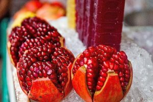 Pomegranate seeds in fruit