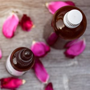 Essential oils used for skin care in bottles