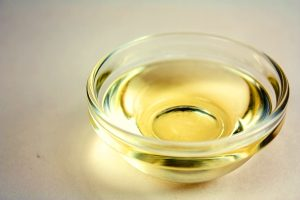Castor oil in a glass bowl